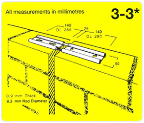 M.E.T. 3-3 VERTICAL EXPANSION JOINT TIES BX50