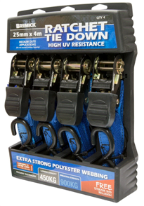 TIE DOWN (STRAP) RATCHET 25mm x 4.0M, 450kg, 4PK
