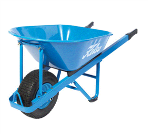"WHEELBARROW KELSO 100LT PROFESSIONAL STEEL TRAY 6.5"" FLAT FREE WHEEL"