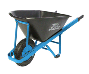 "WHEELBARROW KELSO 100LT HEAVY TRADE POLY TRAY 4.8"" FLAT FREE WHEEL"