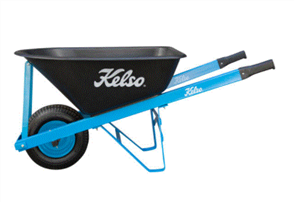 "WHEELBARROW KELSO 100LT TRADESMANS POLY TRAY 6.5"" FLAT FREE WHEEL"