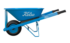 "WHEELBARROW KELSO 100LT TRADESMANS STEEL TRAY 6.5"" FLAT FREE WHEEL"