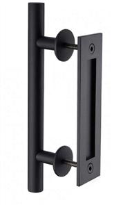 BARN DOOR ROUND 300mm PULL HANDLE / FLUSH PULL SET - BLACK