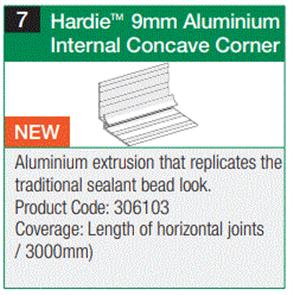HARDIE FINE TEXTURE CLADDING ALUM. INTERNAL CONCAVE CORNER 9 x 3000mm