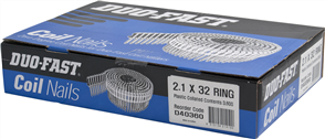 DUO-FAST  0° BRIGHT COLLATED COIL RING NAILS PK3600 - 2.1 x 32mm