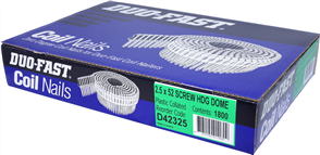 DUO-FAST  0° HD GALVANISED DUO COIL  DOME S NAIL PK1800 - 2.5 x 52mm