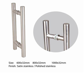 DOOR PULL ROUND SATIN STAINLESS STEEL (BACK TO BACK) 32
