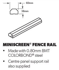 FENCING MINISCREEN FENCE RAIL 2350mm