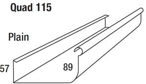 GUTTER - HI FRONT QUAD 115mm PLAIN