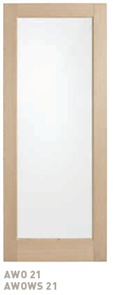 CORINTHIAN DOOR BLONDE OAK AWOWS 21 AMERICAN WHITE WIDE STILE GLAZED CLEAR
