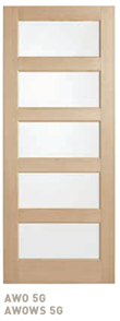 CORINTHIAN DOOR BLONDE OAK AWOWS 5G AMERICAN WHITE WIDE STILE GLAZED CLEAR