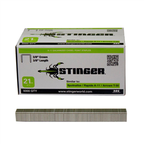 "STINGER (TACKER) A-11 STAPLES (3/8"") 9.5mm CTN5000"