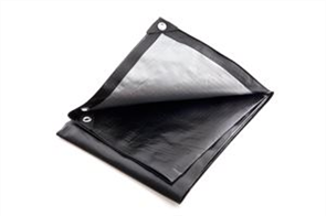 TARPAULIN POLY SILVER/BLACK HEAVY DUTY