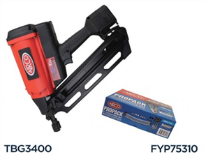 AIRCO GAS FRAMING NAILER (TBG3400) PROGAS F34A, 50-90mm with NAILS & GAS (FYP75310)