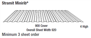 WALL SHEETING - MINIRIB (covers 900mm) 0.35BMT