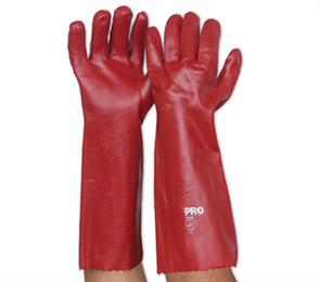 GLOVES RED PVC LONG 45cm