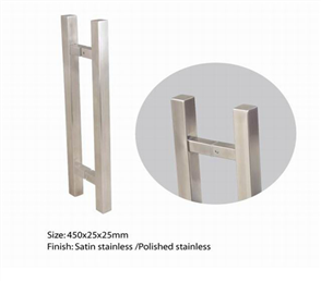DOOR PULL SQUARE SATIN STAINLESS STEEL (BACK TO BACK) 30 x 30