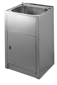 LAUNDRY TUB & CABINET STAINLESS STEEL W / -BYPASS & BASKET WASTE COMPACT 45lt