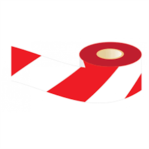 TAPE BARRICADE LUFKIN RED/WHITE 75mm X 100m